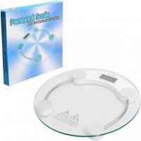 Весы КРУГЛЫЕ напольные  (  Диаметр 33см ) стеклянные прозрачные  электронные (7-180 кг)