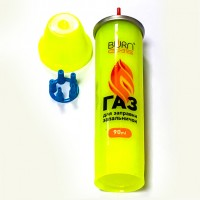 Газ для заправки зажигалок   (желтый балон пластик 80 мл)