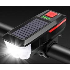 Велосипедный Фонарь BG-LY-17  USB   на Солнечной Батарее  с звуковым сигналом