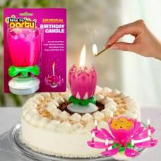 Музыкальная  свеча для торта Тюльпан  Блистер разноцветнная ПОВОРОТНАЯ